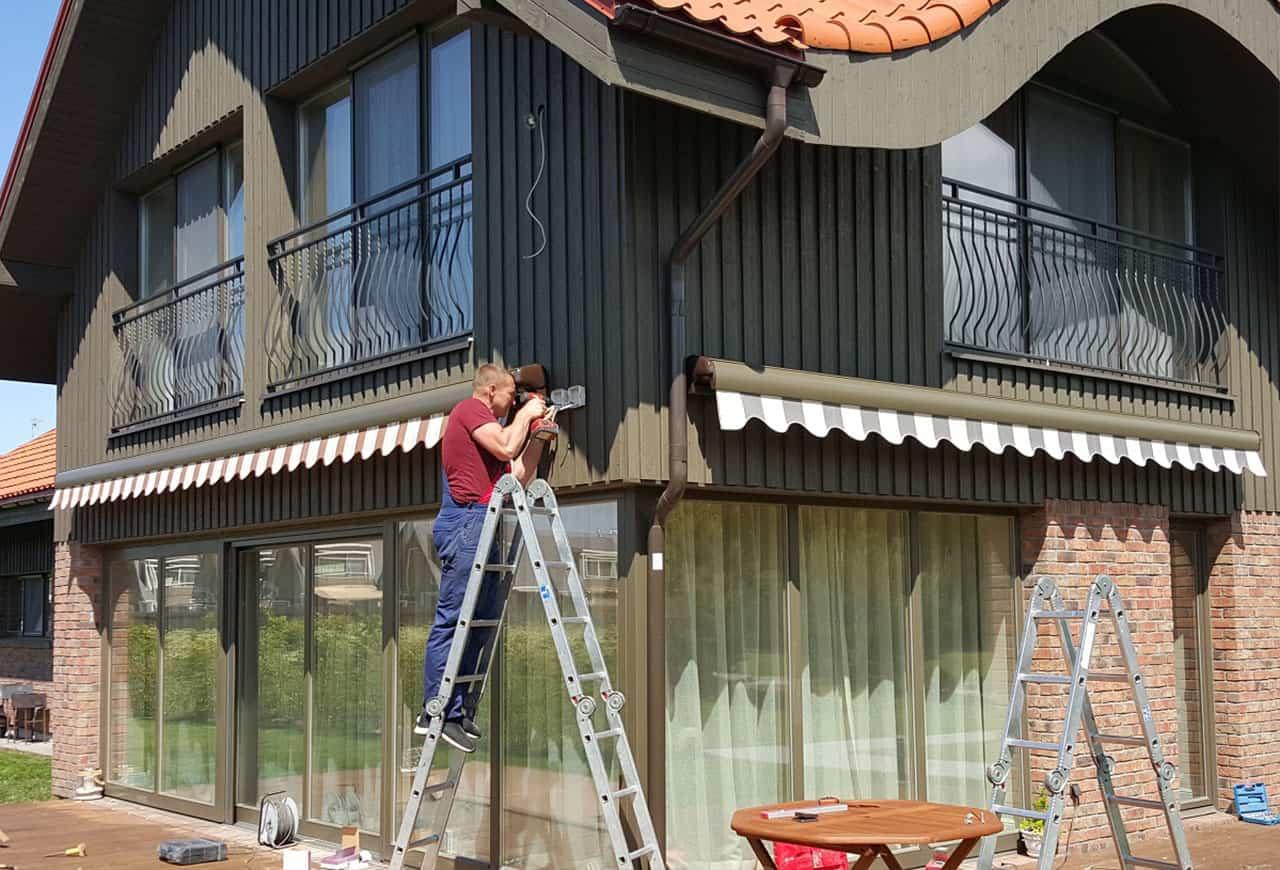 Montavimas namų terasoje markizės pigiau