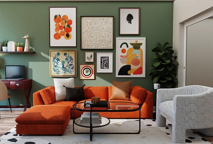 Dekoro detalės oranžinė darbo kambarys