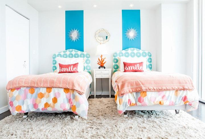 Vaikų miegamojo kambary populiari spalva
