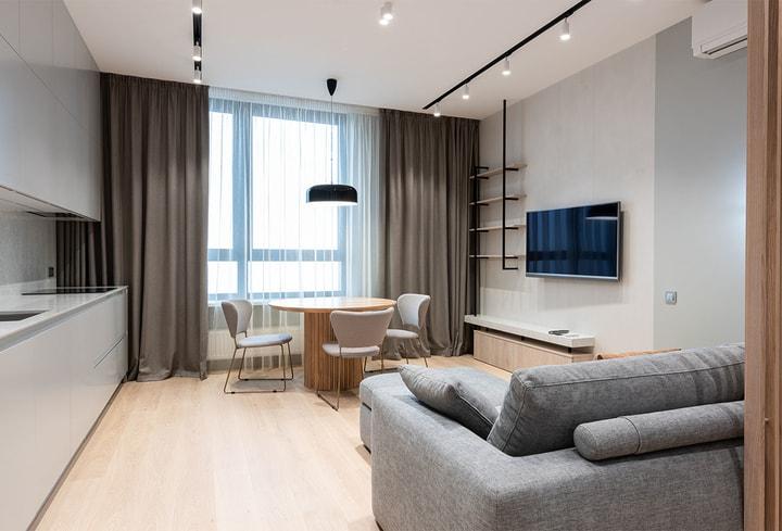 Viešbutyje detalės švelniai pilka stilius