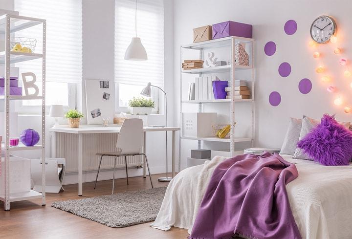Violetinė vaikų kambariui populiari spalva