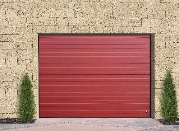 Raudoni regmentiniai garazo vartai