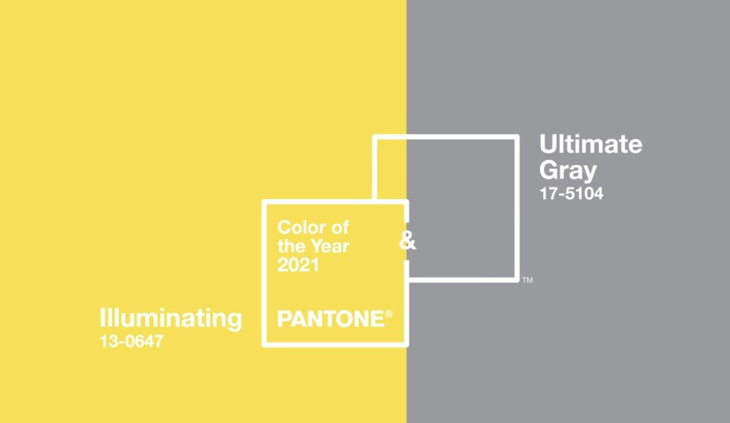 Pantone geltona pilka spalvos