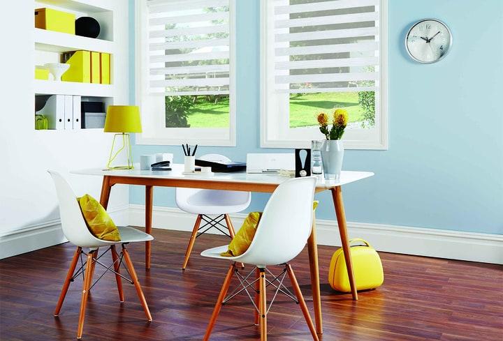 Gelsva interjero spalva valgomajam kambary